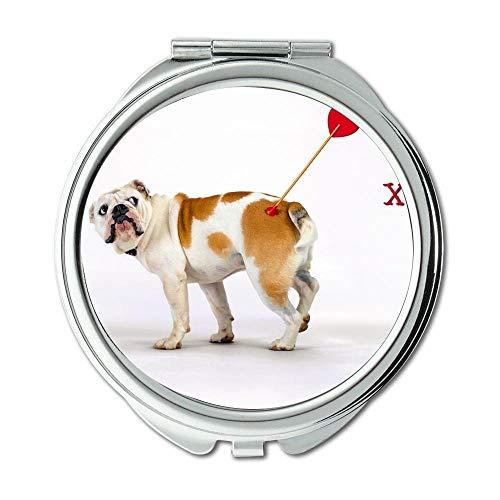 Yanteng Spiegel, Compact Mirror, Cute Dog, Taschenspiegel, 1 X 2X Vergrößerung