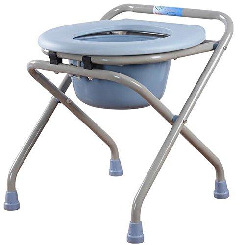 WYF Klappkommode Deluxe Klappleicht Bewegliche Kommode Stuhl mit Toilettensitz Bad Stuhl Hocker Für Schwangere Alten Mann und Behinderte Menschen Blau -