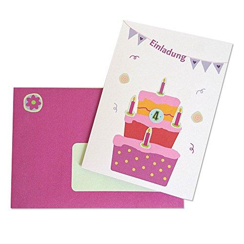 6 Einladungskarten Kindergeburtstag - Set Torte Rosa mit bunten STICKERN zum Verzieren der Karten!