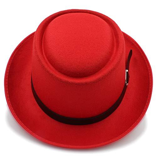 Unbekannt Hut- Mens Fedora Breiter Krempe Classic Winter Schwarz Männlich Pork Pie Hat Filz Hut (Farbe : Rot, Größe : 56-58CM)