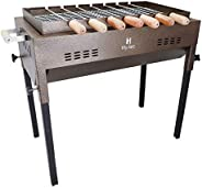 H Hy-tec (Device) Terrace Garden Vintage Gold Edition Picnic Barbeque with 7 Skewers, Wooden Handle, 1 Iron Gr