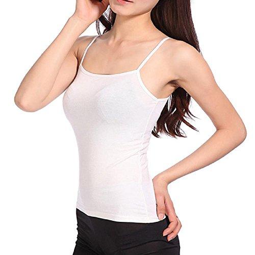 Gilet femme Ularmo Summer femmes sexy mince lâche mousseline de soie Spaghetti Strap Vest Blouses Chemises Blanc