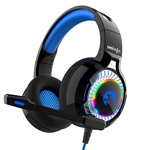 Gaming Headset, UNIOJO Kopfhörer Deep Bass Stereo Klang Headphone mit Mikrofon LED Licht Lautstärkeregler für Nintendo Switch PS4 Laptop Mac blau, mit 1 zu 2 Adapter für PC, Weihnachten Geschenk