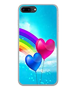 Fuson Designer Back Case Cover for Apple iPhone 7 Plus (Love heart Girl Valentine Indradhanush Two Hearts)