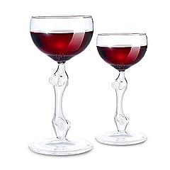 Idea Regalo - MostroMania - Set 2 Sexy Bicchieri da Vino Rosso - Calici in Vetro - Design - Corpo Femminile - Donna - Party - Accessori Casa - Soprammobili - Gadget - Feste Alcoliche - Idee Regalo per Lui - 150 ml