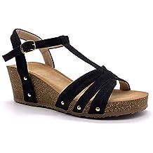 9f4cf0344f2 Angkorly - Zapatillas Moda Sandalias Mules Plataforma práctico cómodo  comode Mujer Correas Tachonado Corcho Plataforma 6