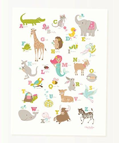 Oursin Studio Alligator au Zebra ABC Poster, rose, 12\