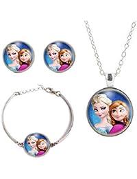 027f81a1c01a Elsa Anna collar colgante pulsera cristal Plus Frozen de historieta joyas  collar pendiente de mujeres niñas