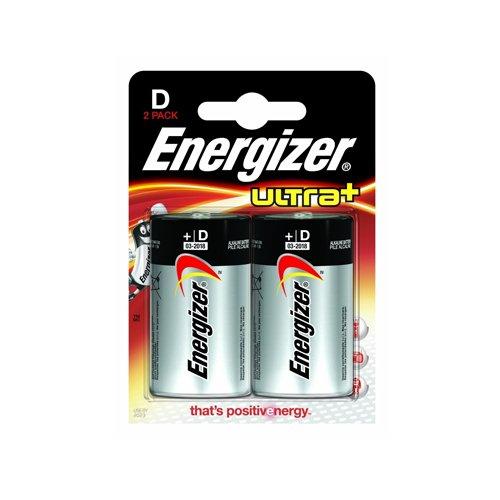Energizer 637592 Ultra Batterie Alcaline Torcia D, 2 Pezzi, Bianco/Nero