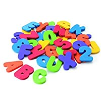 36PCS Numbers and Letters Puzzle Bath Toys Set Foam Bath Alphabet Letters and Numbers 0-9 with Mesh Bag Organiser Educational Bath Toys