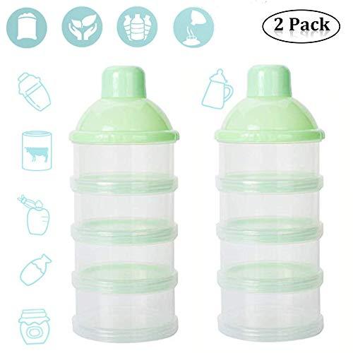 4 Schicht Milch Pulver Spender, Formel Milchpulver-Portionierer,Säuglingsnahrung Kasten,Tragbare Milchkasten,Milchpulver-Portionierer,Milchpulver Box,Milchpulverspender(2 Stück ,BPA-frei) (Grün)