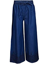 SUPERYOUNG Super Young Plazzo for Girls - Denim Blue Trousers for Girls - Stylish Plazzos with Waistband - Comfortable and Loose Fit
