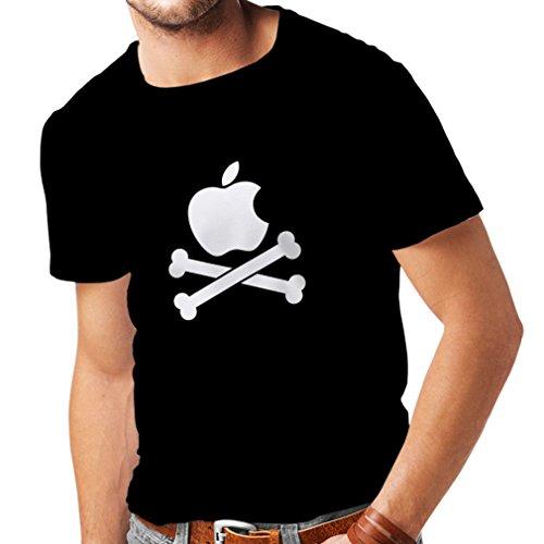 N4269 Männer T-Shirt Lustiger Apfel und Knochen (XXXXX-Large Schwarz Weiß) (Ipod Nano 6th Gen Schwarz)