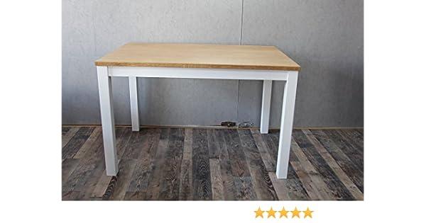 Modena Esszimmertisch Wohnzimmer rechteckig aus Eiche geölt Tischbeine weiß