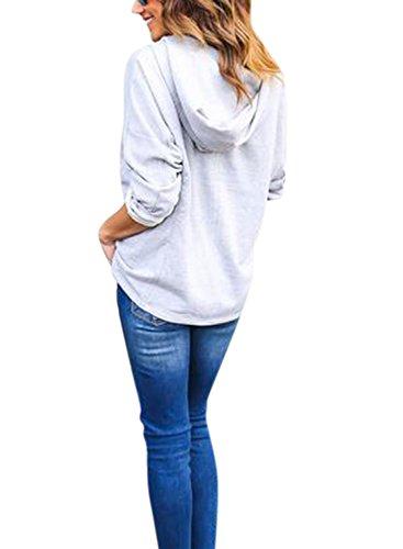 Nlife Frauen-lange Hülse schnüren sich oben V AnsatzHoodie-Sweatshirt-Oberseiten-Hemd-Bluse Grey