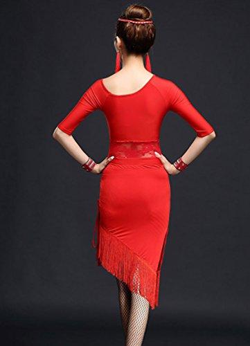 NiSeng Damen Latin schräg Schulter hohl Spitzenbluse Paket Hüfte Quasten Kleid Latin-Tanzkleidung Rot