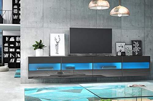 PEGANE Meuble TV Design Panneaux de Particules, Coloris Noir/Noir Brillant avec éclairage LED Bleue