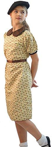 CL COSTUMES 1940er-2. Weltkrieg-Krieg-Schule Tag-Fancy Kleid 1940er Kleid & SCHWARZ Beret Satz - Jedes Alter - Wie abgebildet, ()