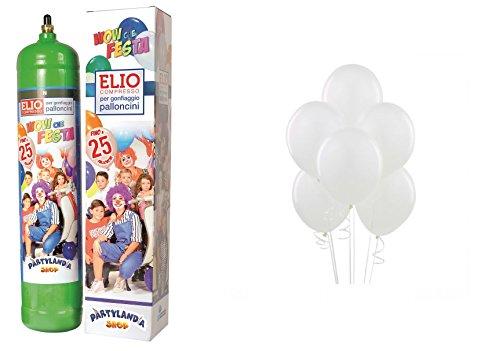 Juego de bombona de helio con 25globos blancos, hilo y dispensador. Ideal...