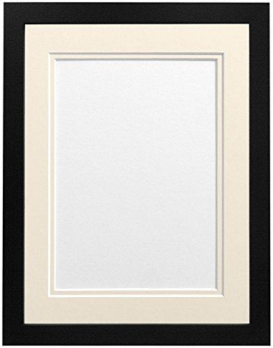 Frames By Post H7Bilderrahmen mit elfenbeinfarbenem Doppel-Passepartout für Bildgröße 10x 15cm, weiß, a4-p, holz, schwarz, 24 x 18 Image Size 18 x 12 inch