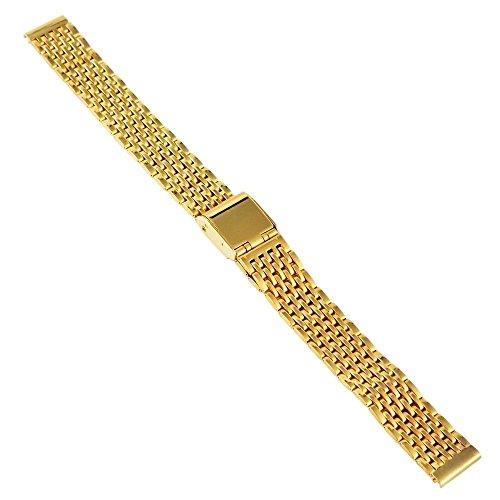 Uhrenarmband Ersatzband Edelstahl Band Damen gelbgoldfarben Hochglanz 12mm SG-28712