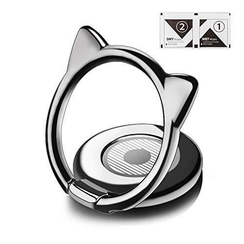 aceyoon Fingerhalterung Handy Katze HandyRing Halter 360°&180° Drehbarer Handy Ringhalter Finger Tier Smartphone Ring Holder Ständer für Samsung Galaxy S9 Huawei Mate20 Pro P20 P10 Silbergrau MEHRWEG (Ring-halter Katze)