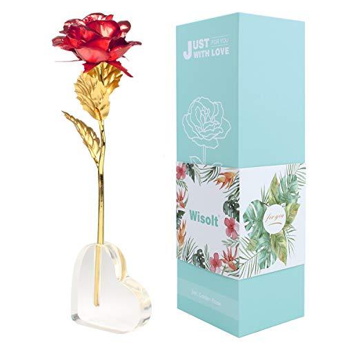 Wisolt 24K Gold Rose, verbesserte Lange Stem Gold Foil Rose mit herzförmigen Display-Ständer, Einzigartige Geschenke für sie, Mädchen, Frau, Mama(Rot) (Geschenke Für Mama Zum Geburtstag)