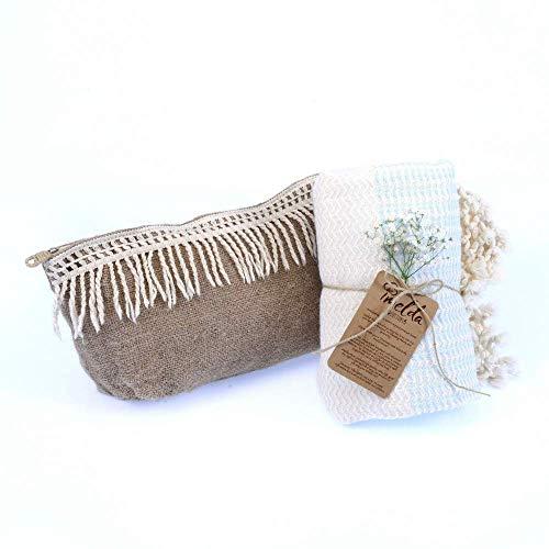 imeldacottons Strandtuch mit Clucth Tasche Geschenk,100% Baumwolle, 100 x 180 cm, Delta (Blau) (Für Delta-handtuch Die Bar)