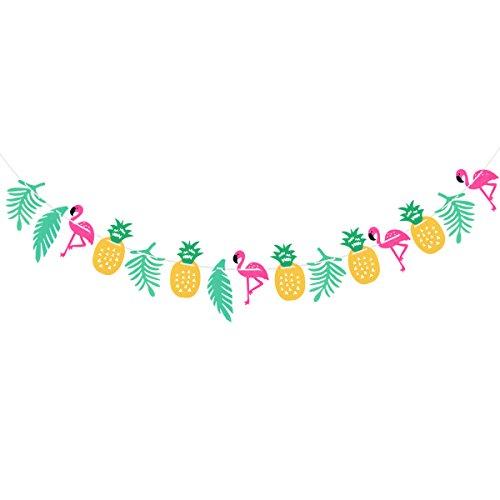 ng Banner Flamingo Party Banner tropische Blumen Ananas Palm Girlanden hängende Dekorationen Luau Party Supplies ()