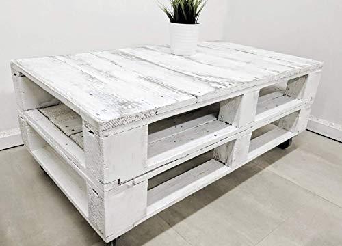 Dydaya Mesa de Centro Vintage Blanca echa con Madera de Palets & Pale - Mesas auxiliares Bajas & pequeñas - Muebles Blancas & Objectos Vintage (Envejecida)