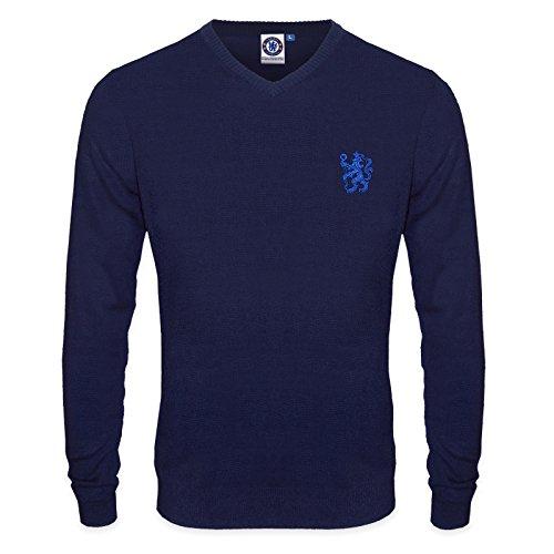 Chelsea FC - Herren Strickpullover mit V-Ausschnitt & Löwenwappen - Offizielles Merchandise - Geschenk für Fußballfans - XXL