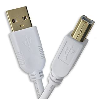IPAX Hi-Speed Hi-Performance Gold Plated Pull Copper Wire USB Printer Cable (6Ft / 1.8m, White)