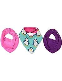 Maxomorra / Pippi * 3er Mädchen Kombi-Set Baby Halstücher Dreieckstücher 3 Stück * pink lila PINGUIN auf mintgrün mit Organic Cotton