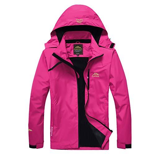 Volwassan Damen wasserdichte Jacke Leichte Bergjacke Outdoor Jacke Laufen Angeln Damen Winddicht Regenmantel mit Kapuze L Sweet Pink
