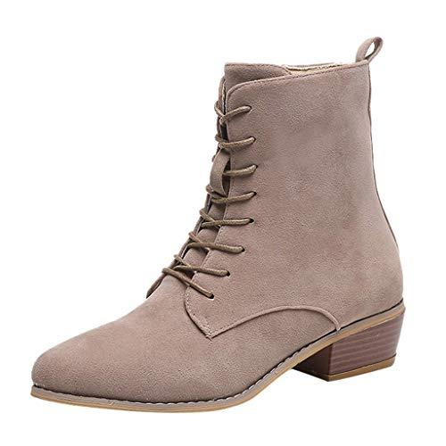 Ni_ka Damenmode Reißverschluss Stiefeletten Western Casual Large Size Scrub Single Boots Warm Mujer Klassisch Khaki EU:39 -