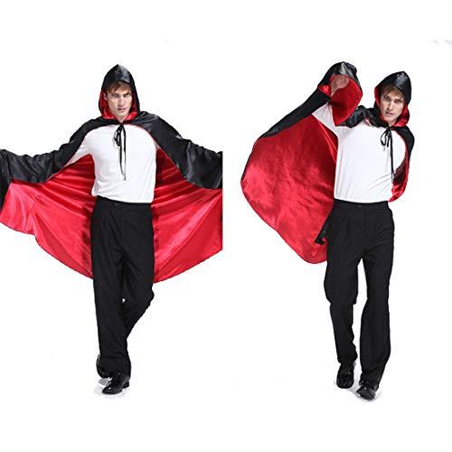 FLYA Halloween Death Cape Umhang Adult Velvet Hooded Cloak Vampire Masquerade Mit Kapuze Robe,1.5 m-Black