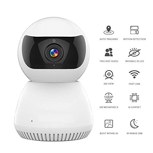 MYRCLMY Baby Monitor WiFi Kamera 1080P Home Security WiFi IP-Cam-Nachtsicht-Smart Camera,Schwarz