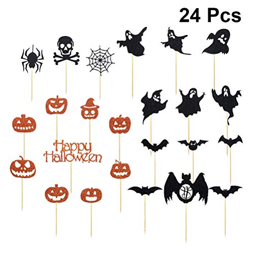 Amos Fun Halloween Kürbis Spinne Cake Topper Lustige Glitter Cupcake Picks DIY Papier Kuchen Dekorationen Halloween Party Dekoration Lieferungen 24 STÜCKE