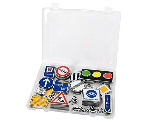 Betzold 83951 - Verkehrszeichen-Set Kinder 218 Teile - Verkehrsschilder magnetisch Tafel - Verkehrserziehung Straßenverkehr Schule