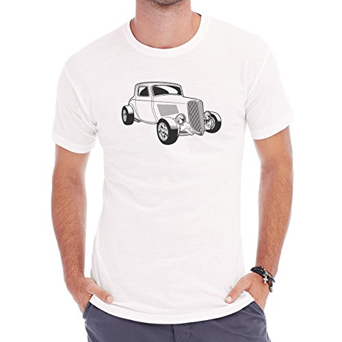 Car Vehicle Four Wheels Auto Black White Old Race Herren T-Shirt Weiß