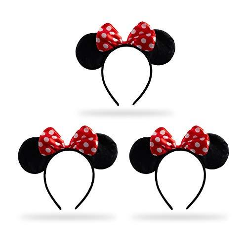 Relaxdays 3 x Haarreif Maus, Mit Mäuseohren & gepunkteter Schleife, Öhrchenhaarreif, Kopfschmuck Maus Kostüm, schwarz/rot