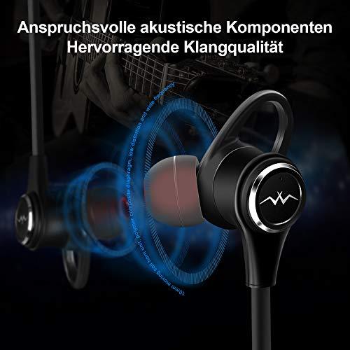 LINNER NC50 Active Noise Cancelling Kopfhörer-In Ear Ohrhöre Bis zu 28dB Rauschunterdrückung Drahtlos Bluetooth V4.1 Sports Nackenbügel Magnetkopfhörer mit Tiefem Bass HD Stereo, 13 Stunden Spielzeit - 4