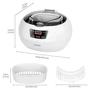 Pulitore Ultrasuoni,Cadrim Ultrasonic Cleaner Piccolo Pulitore ad Ultrasuoni,Utilizzata per er Pulire Gioelli , Orologi , Occhiali , Dentiere , Monete Antiche ecc (600 ML)