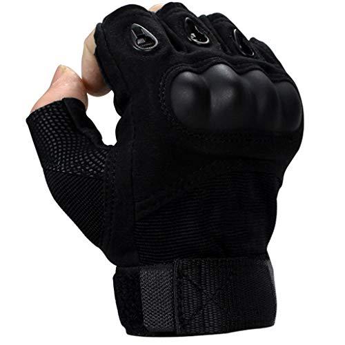 H&Y Taktische Handschuhe Outdoor Protection Fighting Half Finger Stab-Proof Cut Schwarz (Farbe : SCHWARZ, größe : L) -