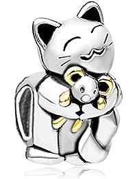 Cuenta Uniqueen de gato sonriente abrazando a ratón, compatible con pulseras Pandora