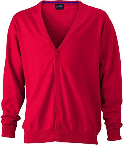 James & Nicholson Herren V-Neck Cardigan Strickjacke Rot (Red) Large