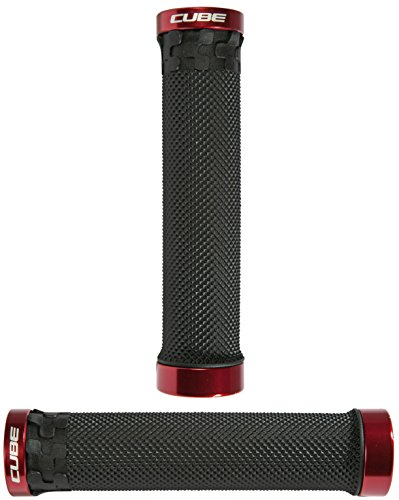 Cube Fritzz Grip - Black/Red / Mountain Biking Biker Bike MTB Off Road Riding Rider Ride Handle Handlebar Bar Component Part Trail Downhill Enduro Dirt Jump Locking Lock On Cycling Cycle Grip Rubber Tape Set Comfortable Comfort Comfy Performance E Electric Full Suspension AMS Stereo Hanzz