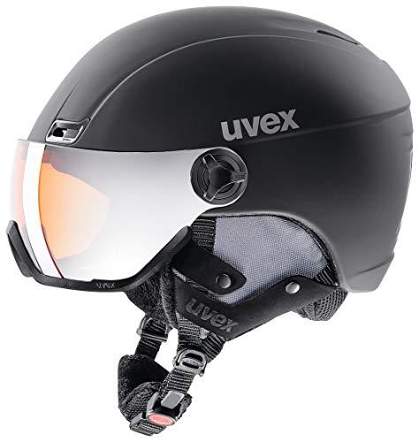 uvex Unisex- Erwachsene, hlmt 400 visor style Skihelm, black, 53-58 cm