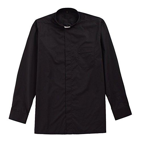 blessume schwarz klerikale Shirt mit Kragen Tab, schwarz (39)