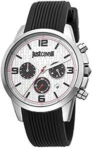 Just Cavalli Gents Crono Metal Watch JC1G175P0015 - Quartz Analog for Men in Silicone Strap